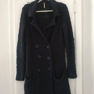 SZ M Free People Navy xlong chunky cable Cardigan